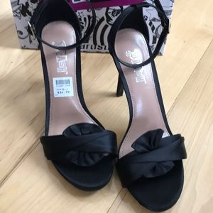 Brash Black satin Austen twist knot ankle strap